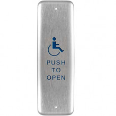 "10PBJ1 BEA jamb stainless push plate blue text and logo ""Push to Open"""