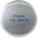 "10PBR BEA push plate, stainless steel 6"" round, text only"