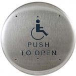 """10PBR1 BEA push plate stainless 6"""" round w/logo & """"Push to Open"""" text"""