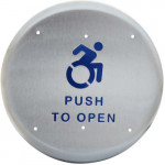 """10PBR1AL BEA accessibility push plate, S/S 6"""" round text & logo"""