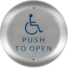 """10PBR451 BEA 4.5"""" round stainless plate handicap Logo & """"Push To Open"""""""