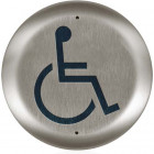 """10PBR45LL BEA push plate stainless 4.5"""" round large handicap logo"""