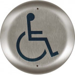 """10PBRLL BEA push plate, stainless 6"""" round w/large handicap logo"""