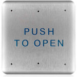 "10PBS BEA push plate, S/S 4.75"" square, text only ""Push to Open"""