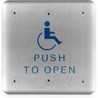 """10PBS1 BEA 4.75"""" Square Stainless Plate Handicap Logo & Blue """"Push To Open"""" Text"""