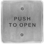 """10PBS45 BEA push plate, S/S 4.5"""" square, """"Push to Open"""" text"""