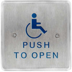 """10PBS451 BEA Square Stainless Plate Handicap Logo, """"Push To Open"""" Text"""