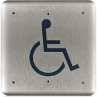 """10PBSLL BEA push plate stainless 4.75"""" square large handicap logo"""
