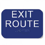 "CAEXRT4534 Cal-Royal EXIT ROUTE Sign 5 3/4""X4"", ADA & CA Standards"