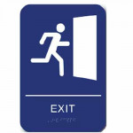 "CAEXT69 Cal-Royal EXIT Sign 6"" X 9"" ADA & CA Standards, Braille"