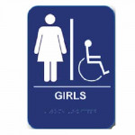 "GIRH68 Cal-Royal Restroom Sign, GIRLS Handicap 6"" X 8"" ADA"