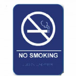"NS68 Cal-Royal NO SMOKING Sign 6"" X 8"" ADA Tactile & Braille"