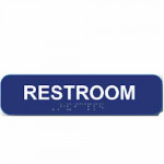 """RS1346 Cal-Royal RESTROOM Sign 1 3/4"""" X 8"""" ADA Tactile & Braille"""