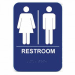 "RS68 Cal-Royal Restroom Sign, Unisex 6"" X 8"" ADA Tactile & Braille"