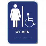 "WH68 Cal-Royal Restroom Sign, WOMEN's Handicap 6"" X 8"" ADA"