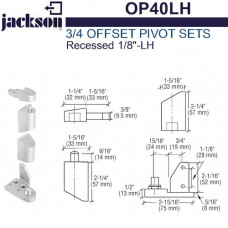 "OP40LH Jackson 3/4"" Offset Pivot Set - Recessed 1/8"" - LH"