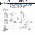 "OP41RH Jackson 3/4"" Offset Pivot Set - Recessed 3/32"" - RH"