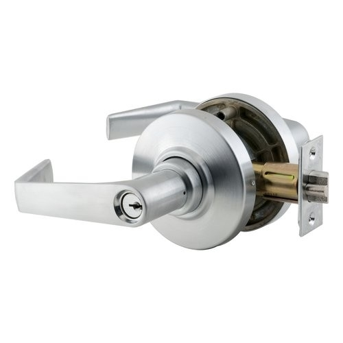 Tubular Lever Design Schlage commercial ND50PDTLR606 ND Series Grade 1 Cylindrical Lock Satin Brass Finish Entry//Office Function Push-Button Locking