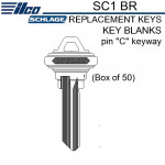 "SC1 BR Ilco 5 Pin Schlage ""C"" Keyway Replacement Key Blanks  (Box of 50)"