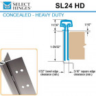 "SL24 HD 83 Select Hinges Concealed Hinge, Narrow Frame Leaf, Door Edge Protector, For 1-3/4"" Doors"