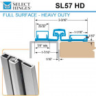 SL57 HD 83 Select Hinges Full Surface Hinge, Narrow Frame, For Doors Less Than 2""