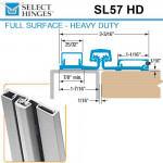 SL57 HD 95 Select Hinges Full Surface Hinge, Narrow Frame, For Doors Less Than 2""