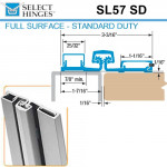 SL57 SD 83 Select Hinges Full Surface Hinge, Narrow Frame, For Doors Less Than 2""